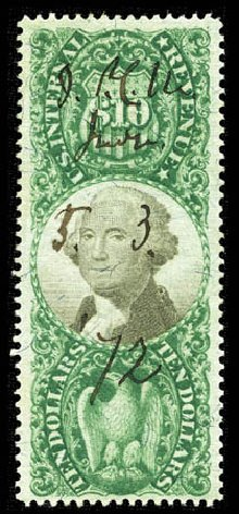 Value of US Stamp Scott Catalog R149: 1872 US$10.00 Revenue Documentary . Matthew Bennett International, Feb 2012, Sale 340, Lot 637