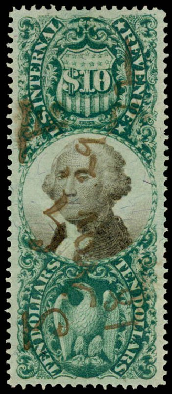 US Stamps Prices Scott Catalogue # R149: 1872 US$10.00 Revenue Documentary . Daniel Kelleher Auctions, May 2015, Sale 665, Lot 188