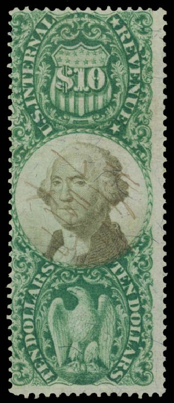 US Stamp Prices Scott Catalogue R149: US$10.00 1872 Revenue Documentary . Daniel Kelleher Auctions, May 2015, Sale 665, Lot 189