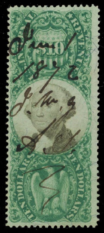 Price of US Stamps Scott Catalog # R149 - 1872 US$10.00 Revenue Documentary . Daniel Kelleher Auctions, May 2015, Sale 665, Lot 190
