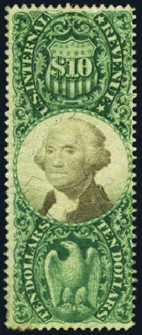 Cost of US Stamp Scott Catalog R149 - US$10.00 1872 Revenue Documentary . Harmer-Schau Auction Galleries, May 2012, Sale 93, Lot 502