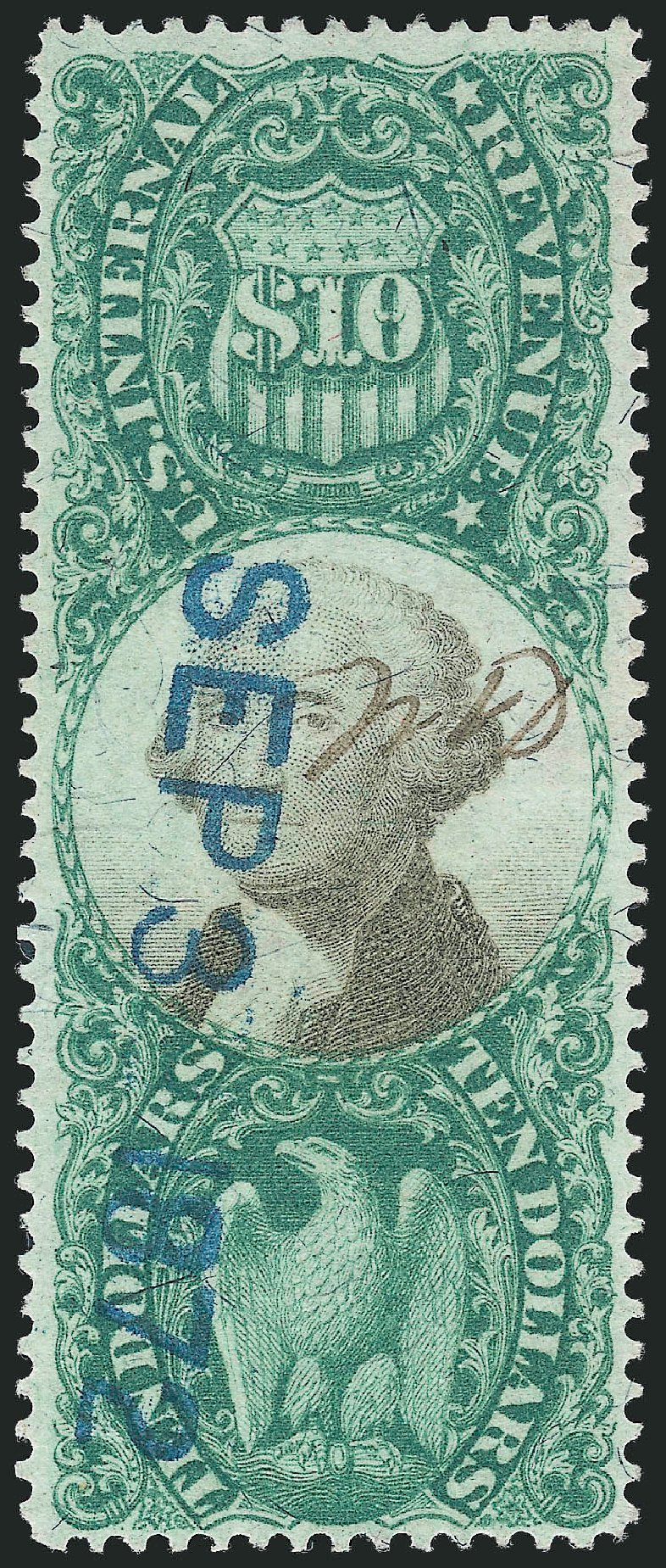 Costs of US Stamp Scott Cat. # R149: 1872 US$10.00 Revenue Documentary . Robert Siegel Auction Galleries, Nov 2011, Sale 1015, Lot 93