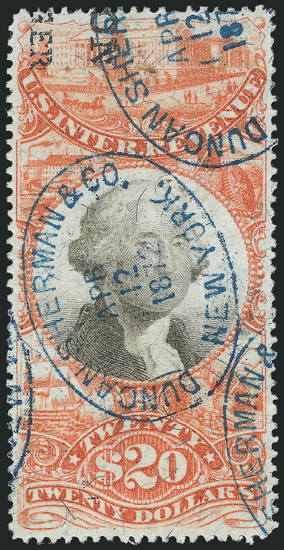 Value of US Stamps Scott Catalog # R150: 1872 US$20.00 Revenue Documentary . Robert Siegel Auction Galleries, Mar 2014, Sale 1066, Lot 97