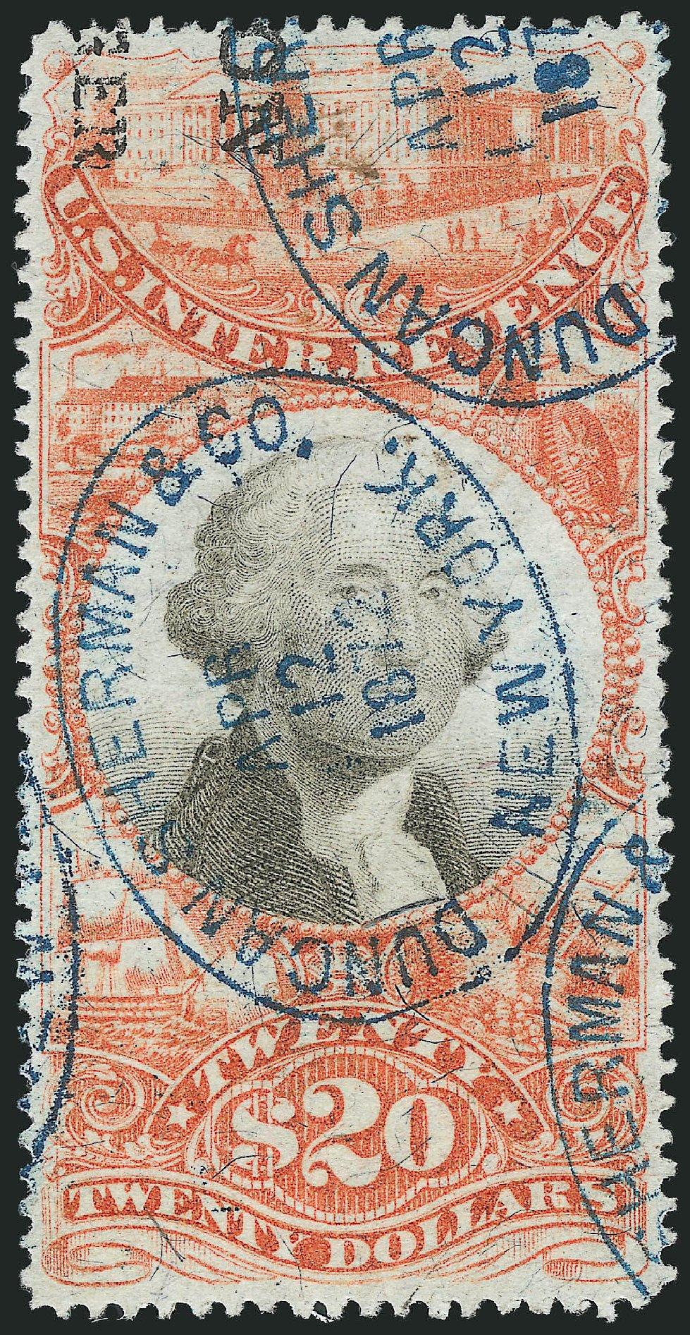 Value of US Stamps Scott Catalog # R150: 1872 US$20.00 Revenue Documentary . Robert Siegel Auction Galleries, Mar 2014, Sale 1066, Lot 97