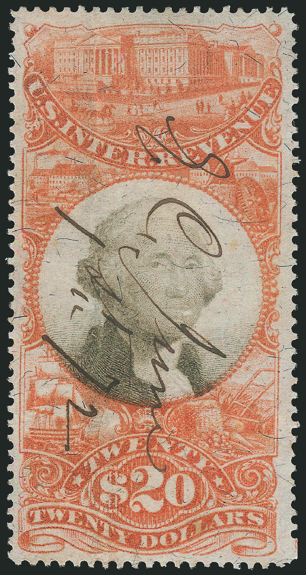 Value of US Stamps Scott Catalogue #R150 - US$20.00 1872 Revenue Documentary . Robert Siegel Auction Galleries, Mar 2014, Sale 1067, Lot 568