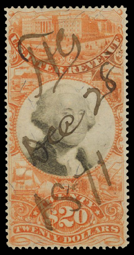 US Stamp Prices Scott Cat. R150: 1872 US$20.00 Revenue Documentary . Daniel Kelleher Auctions, Sep 2014, Sale 655, Lot 959