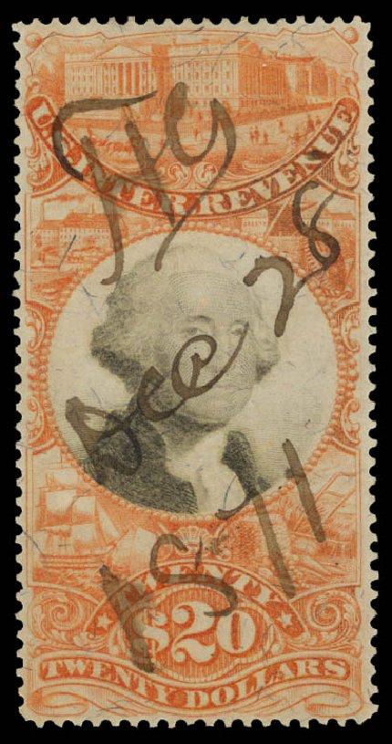 US Stamp Prices Scott Cat. R150: 1872 US$20.00 Revenue Documentary . Daniel Kelleher Auctions, Sep 2014, Sale 655, Lot 959