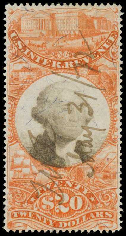 Value of US Stamp Scott # R150: 1872 US$20.00 Revenue Documentary . Daniel Kelleher Auctions, May 2015, Sale 665, Lot 191