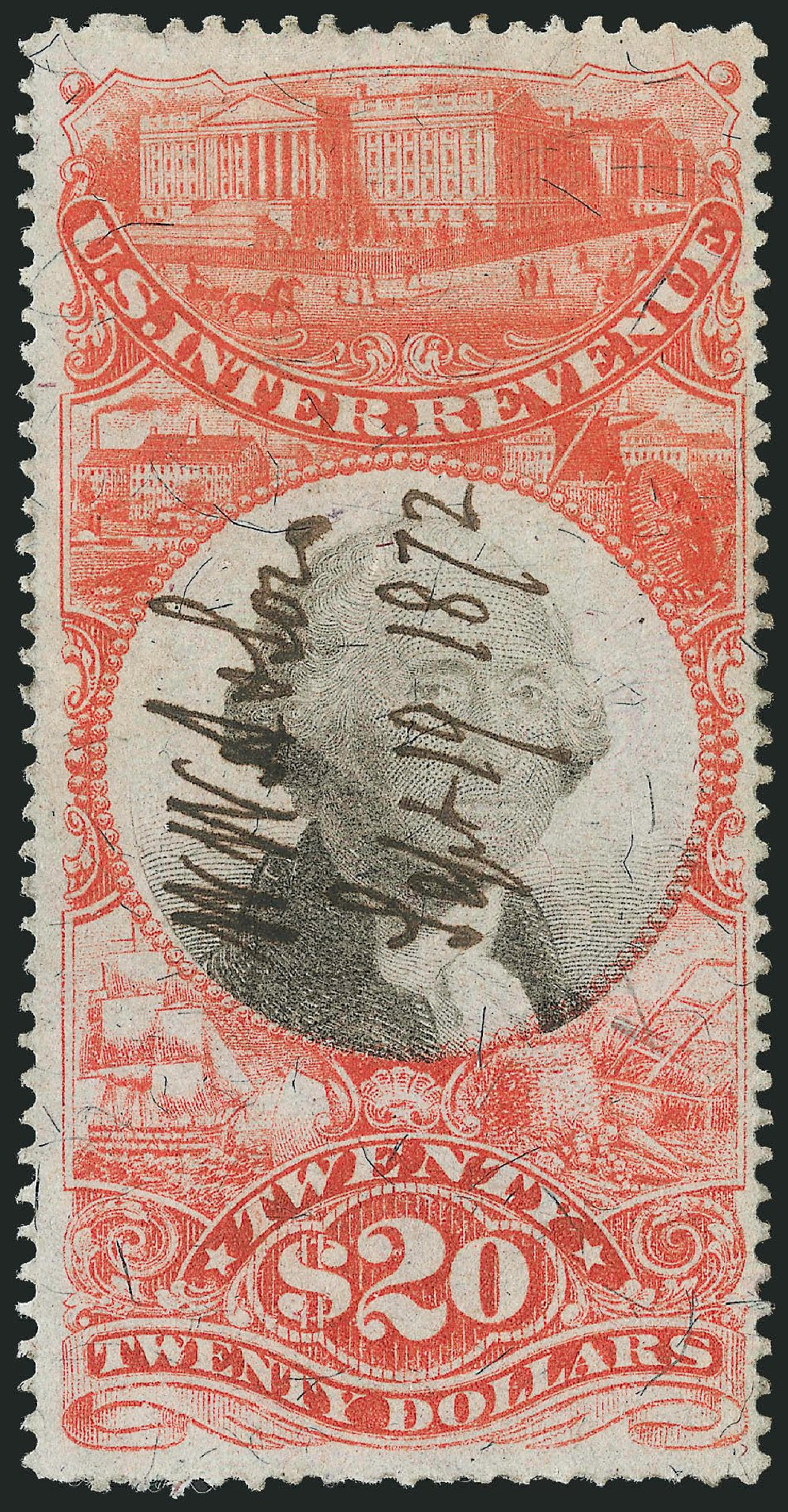 Values of US Stamps Scott Cat. R150 - 1872 US$20.00 Revenue Documentary . Robert Siegel Auction Galleries, Dec 2014, Sale 1089, Lot 521