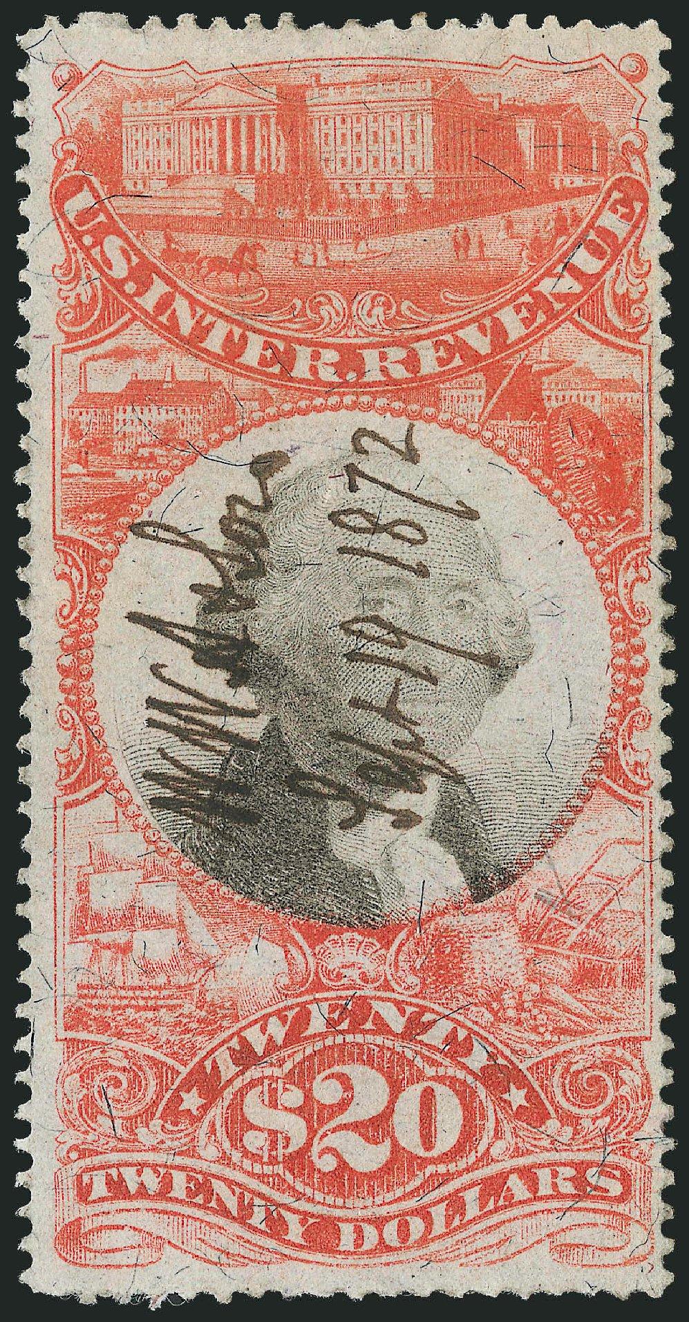 Values of US Stamps Scott Cat. R150 - 1872 US$20.00 Revenue Documentary . Robert Siegel Auction Galleries, Dec 2014, Sale 1089, Lot 521