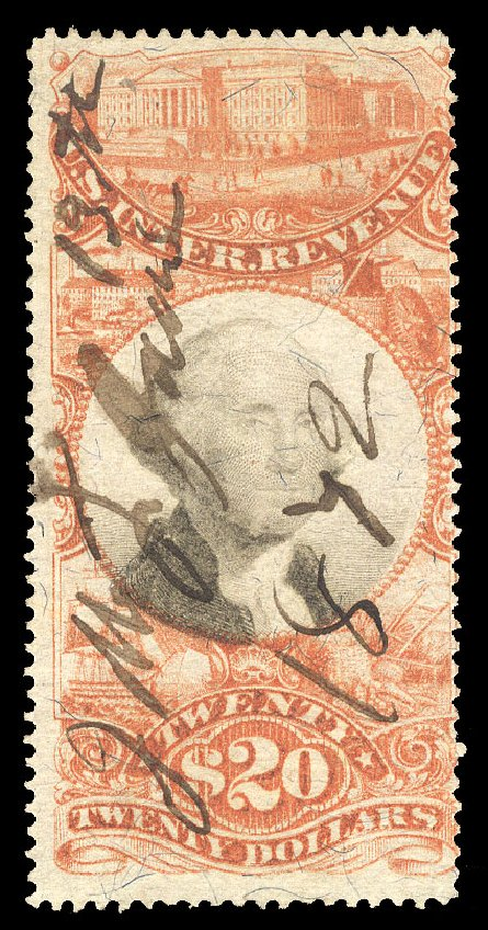 Cost of US Stamps Scott Catalogue #R150: 1872 US$20.00 Revenue Documentary . Cherrystone Auctions, Oct 2012, Sale 201210, Lot 204