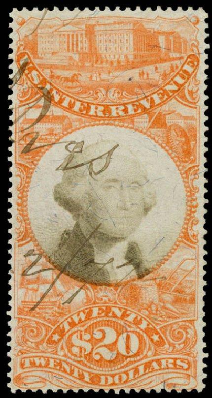 Prices of US Stamps Scott Cat. #R150 - US$20.00 1872 Revenue Documentary . Daniel Kelleher Auctions, Aug 2015, Sale 672, Lot 3084