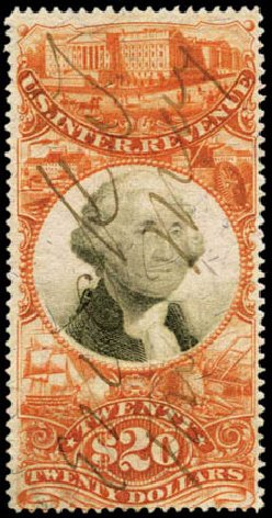 Value of US Stamp Scott #R150: US$20.00 1872 Revenue Documentary . Harmer-Schau Auction Galleries, Feb 2012, Sale 92, Lot 1482