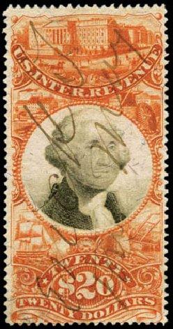Value of US Stamp Scott #R150: US$20.00 1872 Revenue Documentary . Harmer-Schau Auction Galleries, Feb 2012, Sale 92, Lot 1482
