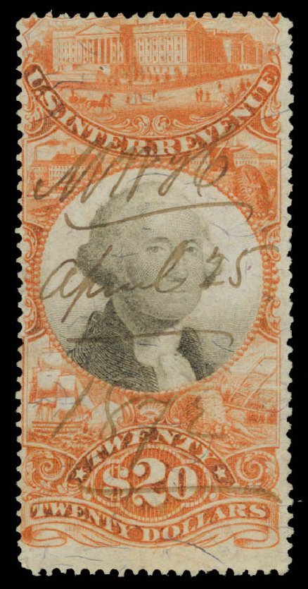 Costs of US Stamps Scott Cat. # R150 - US$20.00 1872 Revenue Documentary . Daniel Kelleher Auctions, May 2015, Sale 665, Lot 192