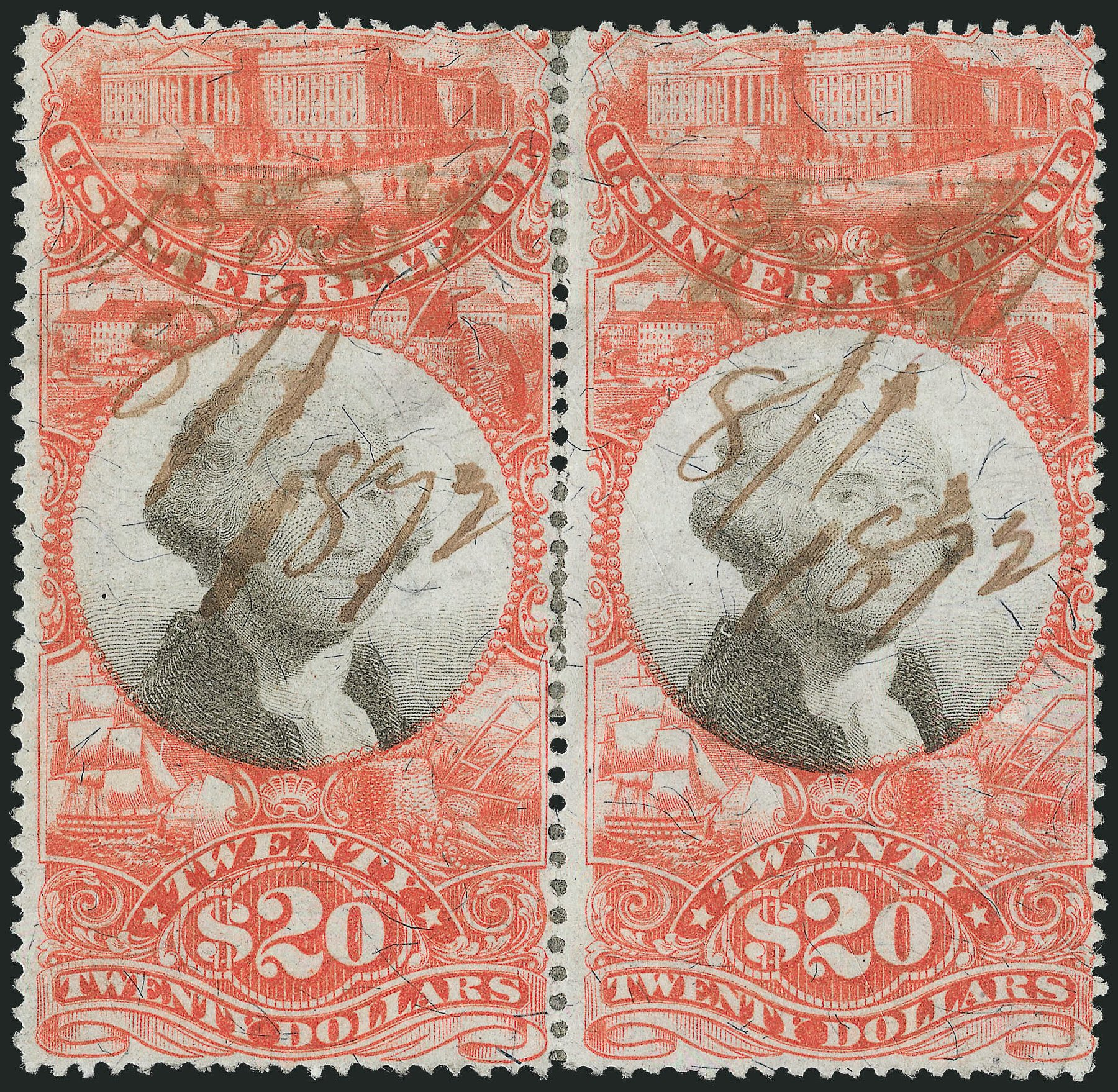 Price of US Stamps Scott Cat. #R150: 1872 US$20.00 Revenue Documentary . Robert Siegel Auction Galleries, Dec 2014, Sale 1089, Lot 522