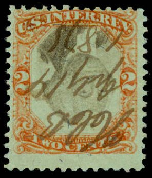 US Stamp Value Scott Catalog R151: 1874 2c Revenue Documentary . Daniel Kelleher Auctions, May 2015, Sale 665, Lot 195