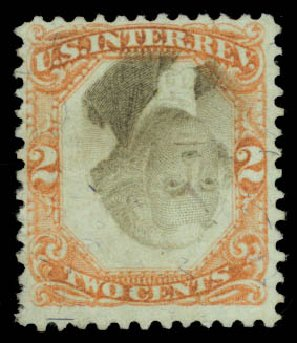 Values of US Stamps Scott Catalogue #R151 - 2c 1874 Revenue Documentary . Daniel Kelleher Auctions, May 2015, Sale 665, Lot 193