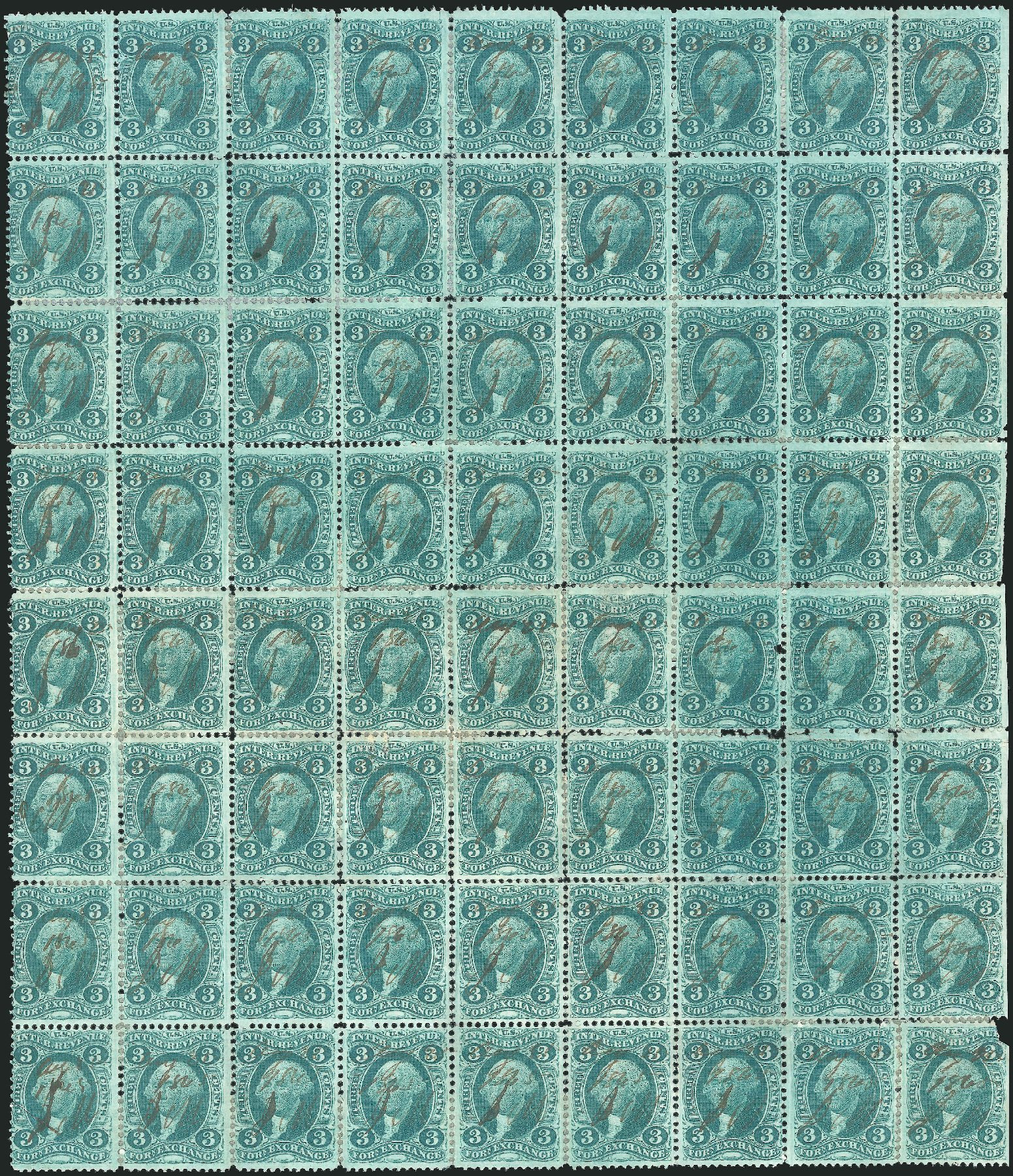 US Stamp Value Scott Cat. # R16: 3c 1862 Revenue Foreign Exchange. Robert Siegel Auction Galleries, Dec 2014, Sale 1089, Lot 422