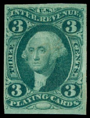 Value of US Stamps Scott Catalog #R17 - 3c 1863 Revenue Playing Cards. Daniel Kelleher Auctions, Jun 2015, Sale 670, Lot 7