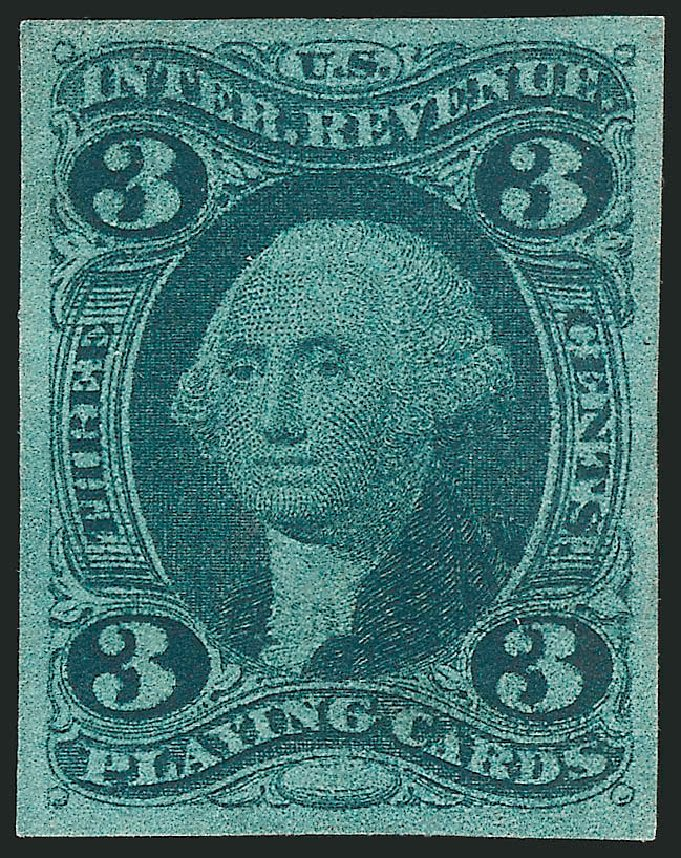 Cost of US Stamps Scott # R17: 3c 1863 Revenue Playing Cards. Robert Siegel Auction Galleries, Mar 2014, Sale 1066, Lot 7