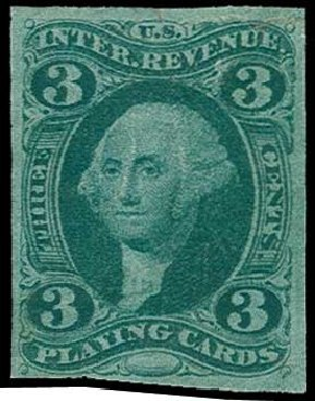Prices of US Stamps Scott Cat. #R17: 1863 3c Revenue Playing Cards. H.R. Harmer, Jun 2015, Sale 3007, Lot 3535