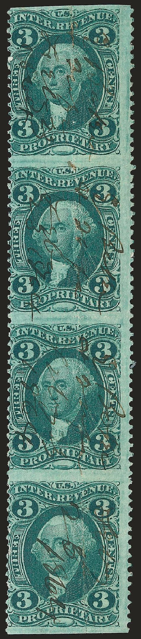 US Stamp Prices Scott Catalog #R18: 1862 3c Revenue Proprietary. Robert Siegel Auction Galleries, Jun 2009, Sale 975, Lot 2287