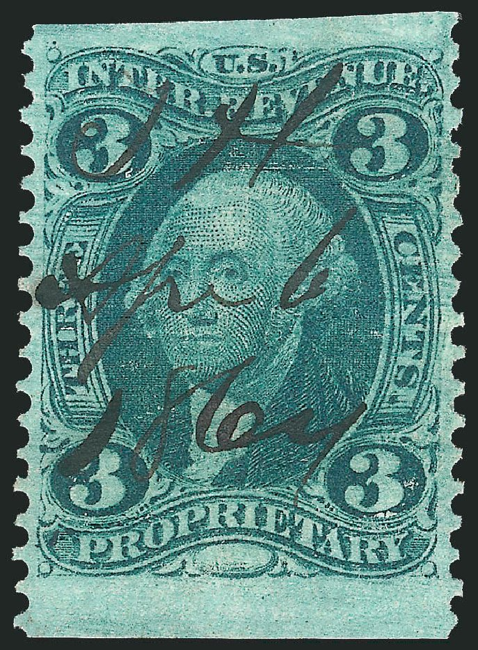 US Stamp Price Scott Catalog R18: 3c 1862 Revenue Proprietary. Robert Siegel Auction Galleries, Mar 2014, Sale 1066, Lot 48