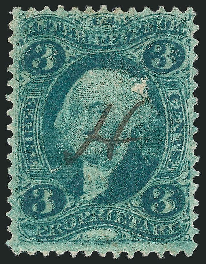 Cost of US Stamps Scott Catalog #R18: 1862 3c Revenue Proprietary. Robert Siegel Auction Galleries, Mar 2014, Sale 1066, Lot 61