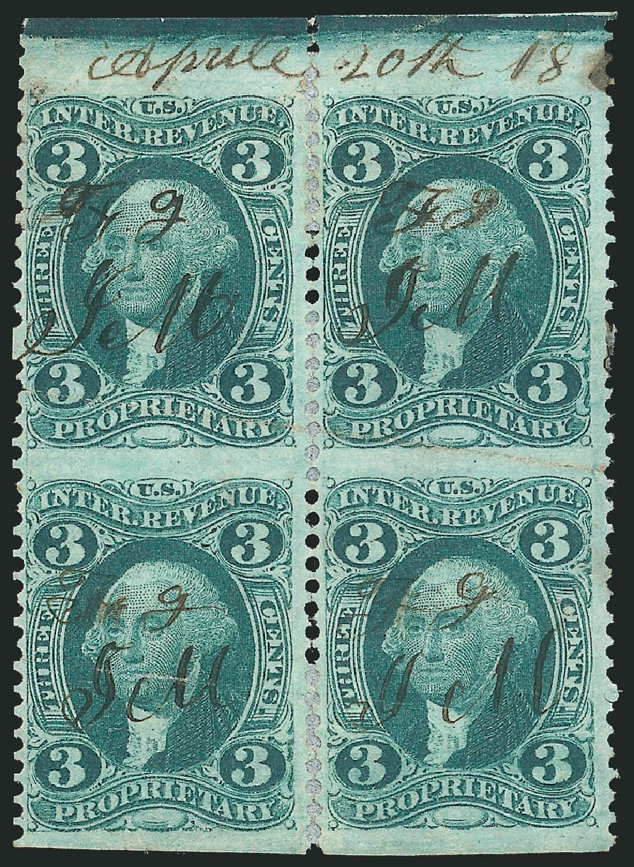 US Stamps Prices Scott Catalogue R18 - 3c 1862 Revenue Proprietary. Robert Siegel Auction Galleries, Dec 2014, Sale 1089, Lot 394
