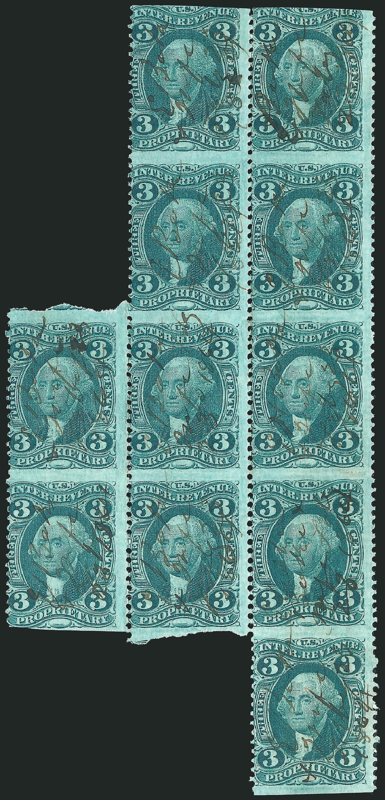 Values of US Stamps Scott Cat. R18: 1862 3c Revenue Proprietary. Robert Siegel Auction Galleries, Dec 2014, Sale 1089, Lot 393