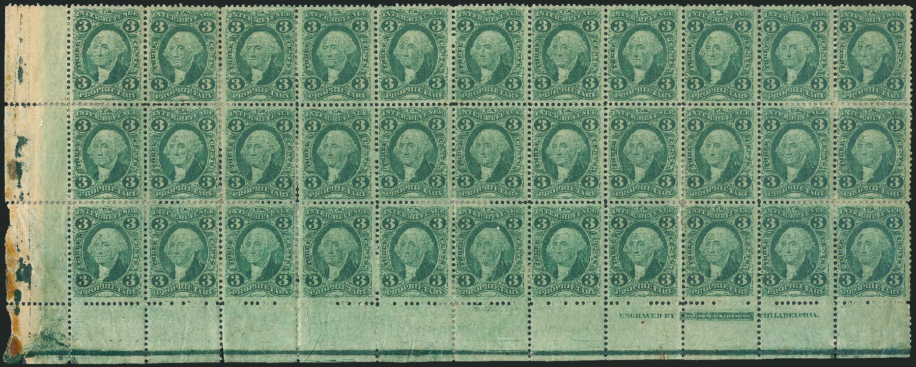 US Stamps Values Scott Cat. # R18: 3c 1862 Revenue Proprietary. Robert Siegel Auction Galleries, Dec 2014, Sale 1089, Lot 423