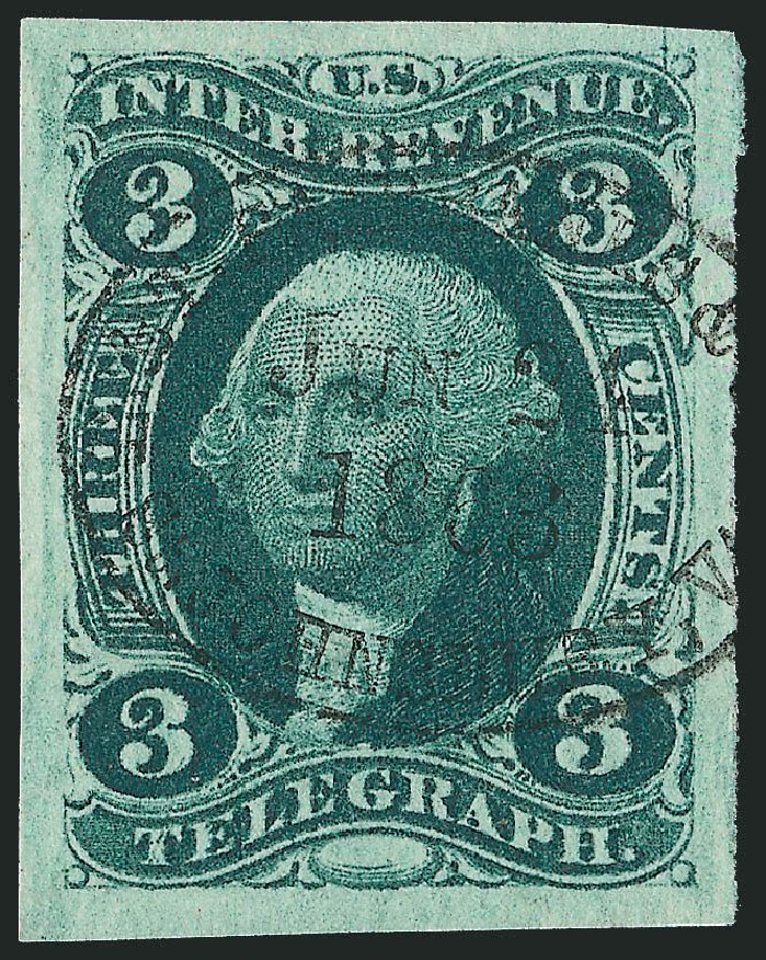 Value of US Stamp Scott Catalogue # R19: 3c 1862 Revenue Telegraph. Robert Siegel Auction Galleries, Dec 2014, Sale 1089, Lot 215