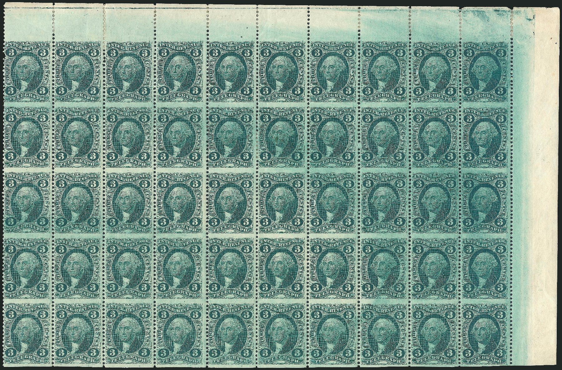 Costs of US Stamps Scott Catalogue # R19 - 1862 3c Revenue Telegraph. Robert Siegel Auction Galleries, Dec 2014, Sale 1089, Lot 395