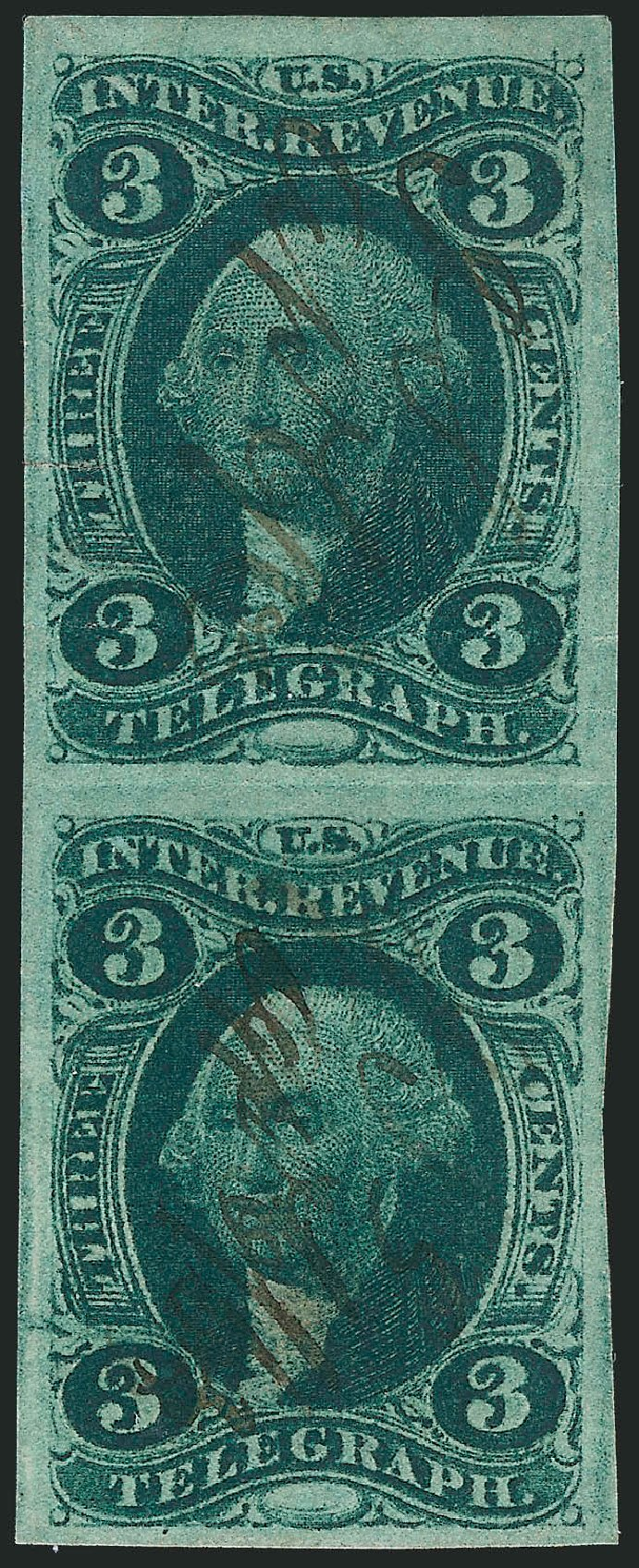 Costs of US Stamp Scott Catalogue # R19: 3c 1862 Revenue Telegraph. Robert Siegel Auction Galleries, Nov 2013, Sale 1061, Lot 4272