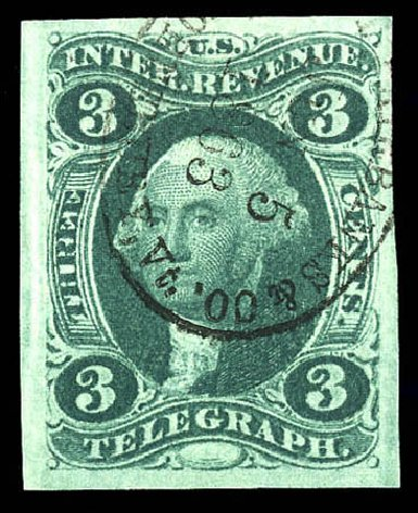US Stamp Value Scott Cat. R19 - 1862 3c Revenue Telegraph. Matthew Bennett International, Dec 2008, Sale 330, Lot 1963