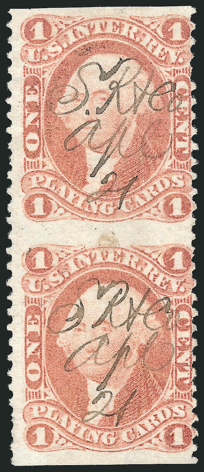 Value of US Stamps Scott Catalog #R2: 1862 1c Revenue Playing Cards. Robert Siegel Auction Galleries, Dec 2014, Sale 1089, Lot 281