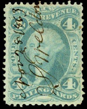 Cost of US Stamp Scott Catalogue # R21: 1863 4c Revenue Playing Cards. Daniel Kelleher Auctions, Jun 2015, Sale 670, Lot 8