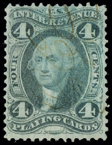 US Stamp Value Scott # R21 - 1863 4c Revenue Playing Cards. Matthew Bennett International, Jun 2008, Sale 328, Lot 1364