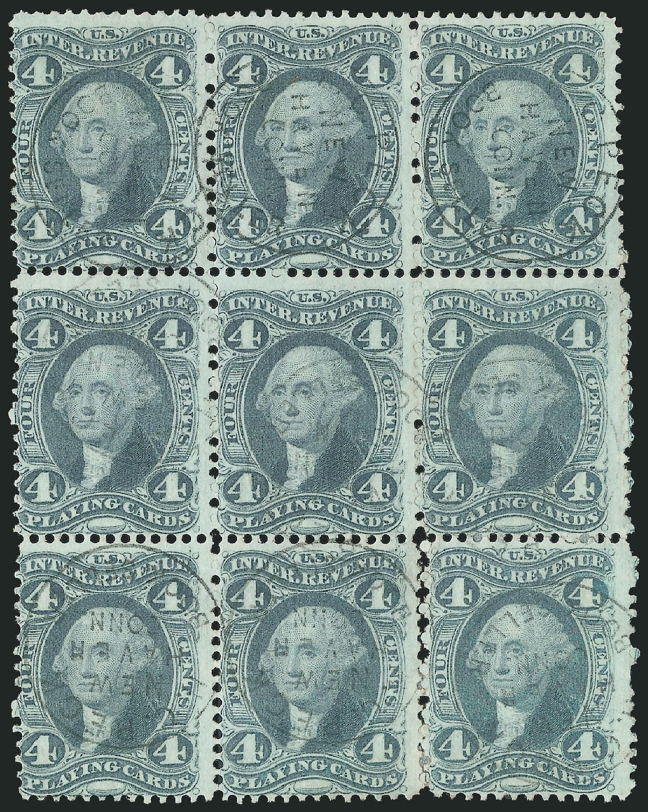 Cost of US Stamps Scott Cat. #R21 - 1863 4c Revenue Playing Cards. Robert Siegel Auction Galleries, Dec 2014, Sale 1089, Lot 424