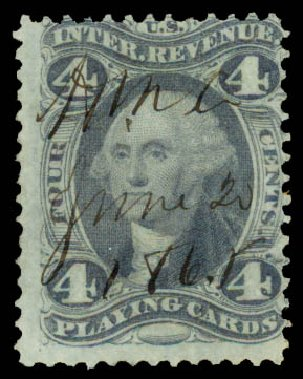 Prices of US Stamp Scott Catalog R21 - 1863 4c Revenue Playing Cards. Daniel Kelleher Auctions, May 2015, Sale 665, Lot 16