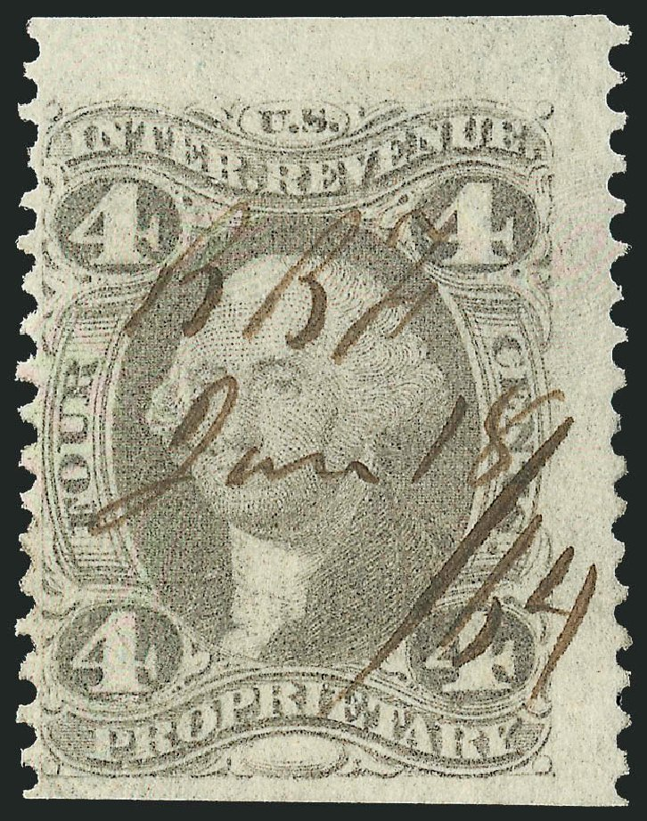 US Stamp Value Scott Catalogue R22: 4c 1862 Revenue Proprietary. Robert Siegel Auction Galleries, Dec 2014, Sale 1089, Lot 290