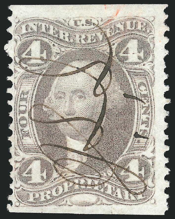 Value of US Stamp Scott Catalog #R22 - 1862 4c Revenue Proprietary. Robert Siegel Auction Galleries, Oct 2012, Sale 1031, Lot 1022