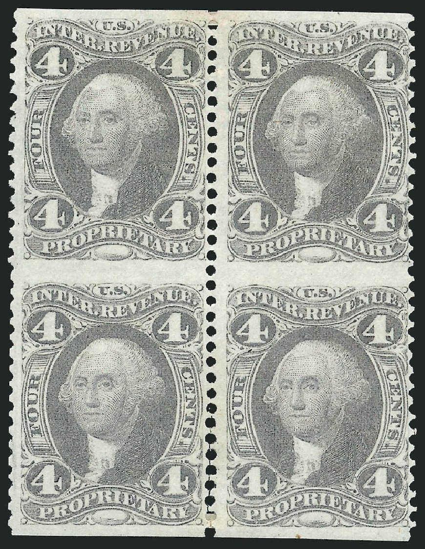 Values of US Stamps Scott Cat. R22 - 1862 4c Revenue Proprietary. Robert Siegel Auction Galleries, Jun 2015, Sale 1100, Lot 143