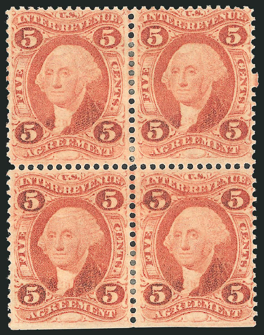 Values of US Stamps Scott Catalogue #R23 - 1862 5c Revenue Agreement. Robert Siegel Auction Galleries, Oct 2012, Sale 1031, Lot 1028