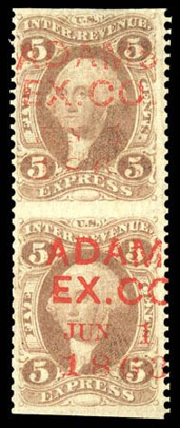 US Stamps Price Scott # R25 - 5c 1862 Revenue Express. Matthew Bennett International, Dec 2008, Sale 330, Lot 1965