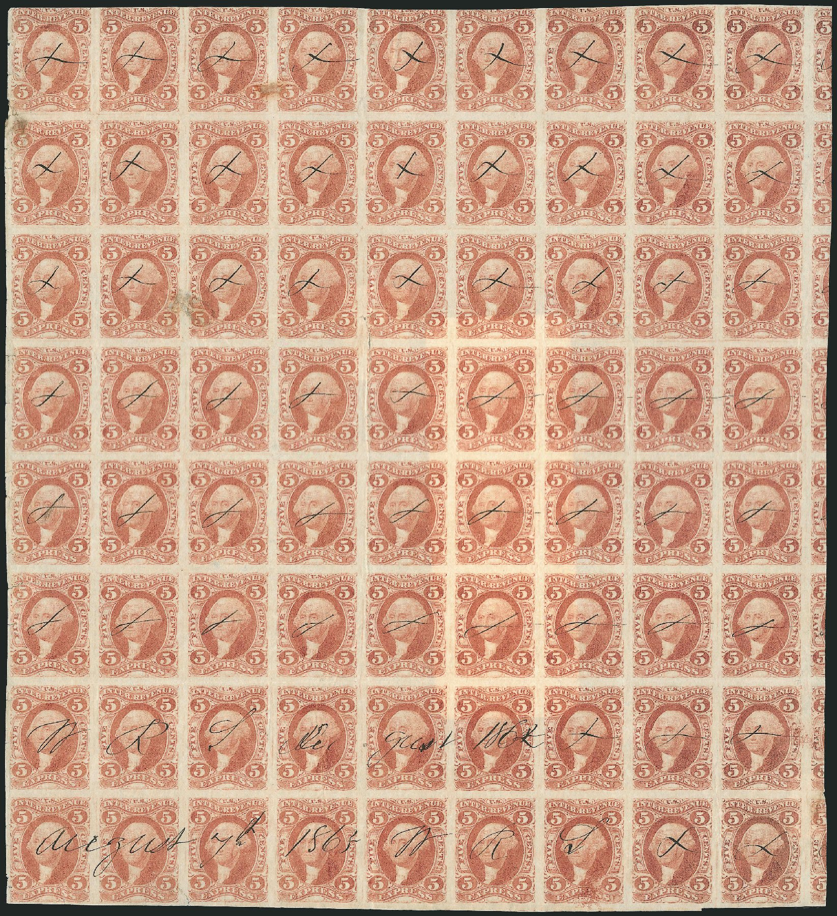 Values of US Stamp Scott Catalog #R25 - 1862 5c Revenue Express. Robert Siegel Auction Galleries, Jun 2015, Sale 1100, Lot 146