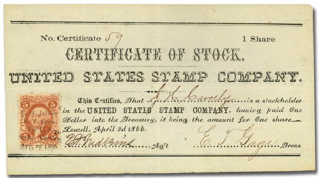 Values of US Stamp Scott Catalogue # R26: 1862 5c Revenue Foreign Exchange. Daniel Kelleher Auctions, Jan 2015, Sale 663, Lot 2330