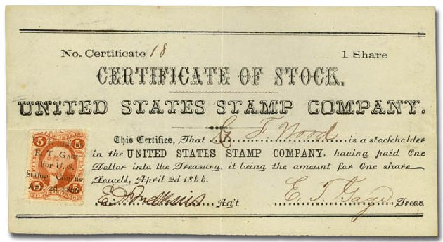 US Stamps Values Scott Catalog # R26 - 5c 1862 Revenue Foreign Exchange. Daniel Kelleher Auctions, Sep 2014, Sale 655, Lot 951