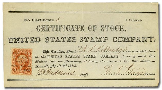 Cost of US Stamp Scott Cat. #R26: 5c 1862 Revenue Foreign Exchange. Daniel Kelleher Auctions, May 2015, Sale 665, Lot 22